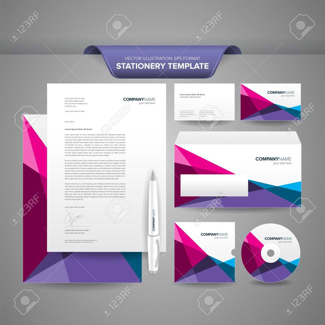 Complete Set Of Business Stationery Templates Such As Letterhead,.. Pertaining To Business Card Letterhead Envelope Template