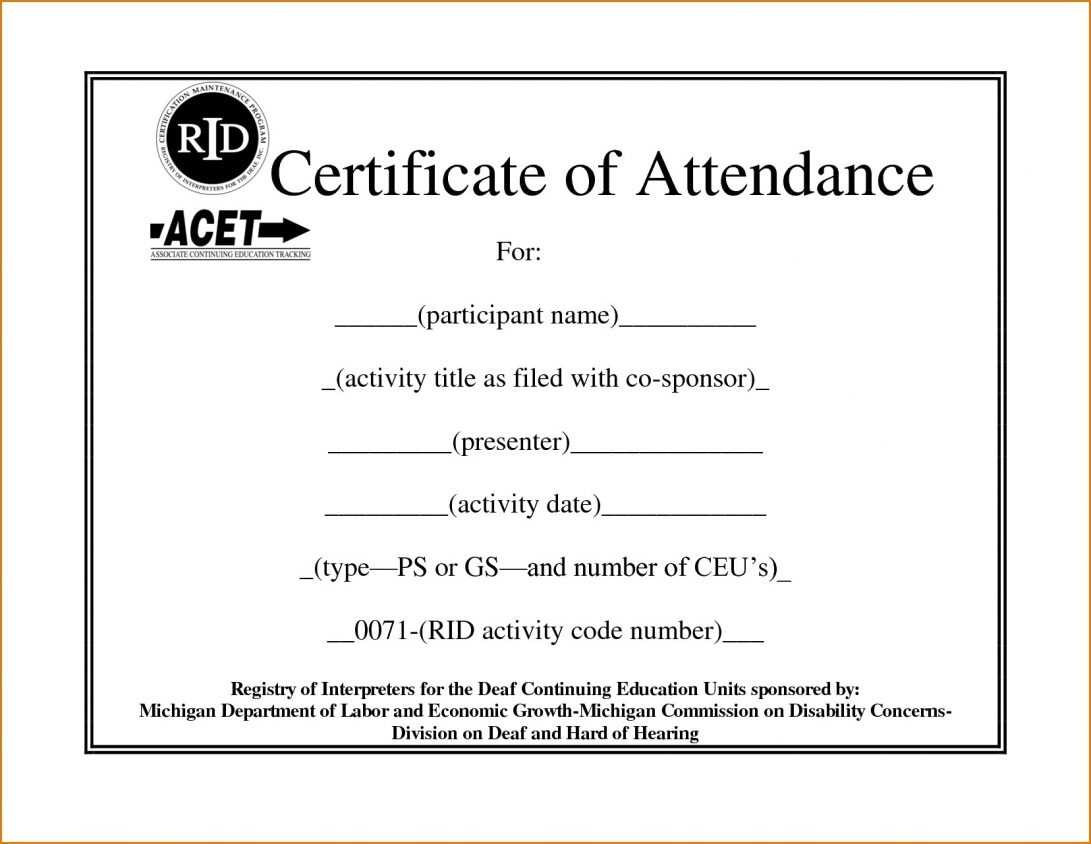 Conference Attendance Certificate Samples New Template in Certificate Of Attendance Conference Template