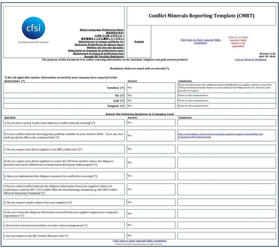 Conflict Minerals Reporting Template (Cmrt) - Pdf Pertaining To Conflict Minerals Reporting Template