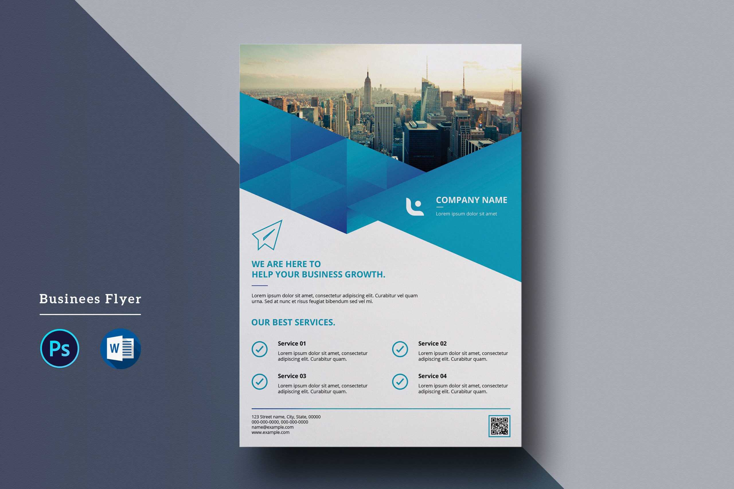 Corporate Flyer Template | A4 Business Flyer | Ms Word And Throughout Free Business Flyer Templates For Microsoft Word