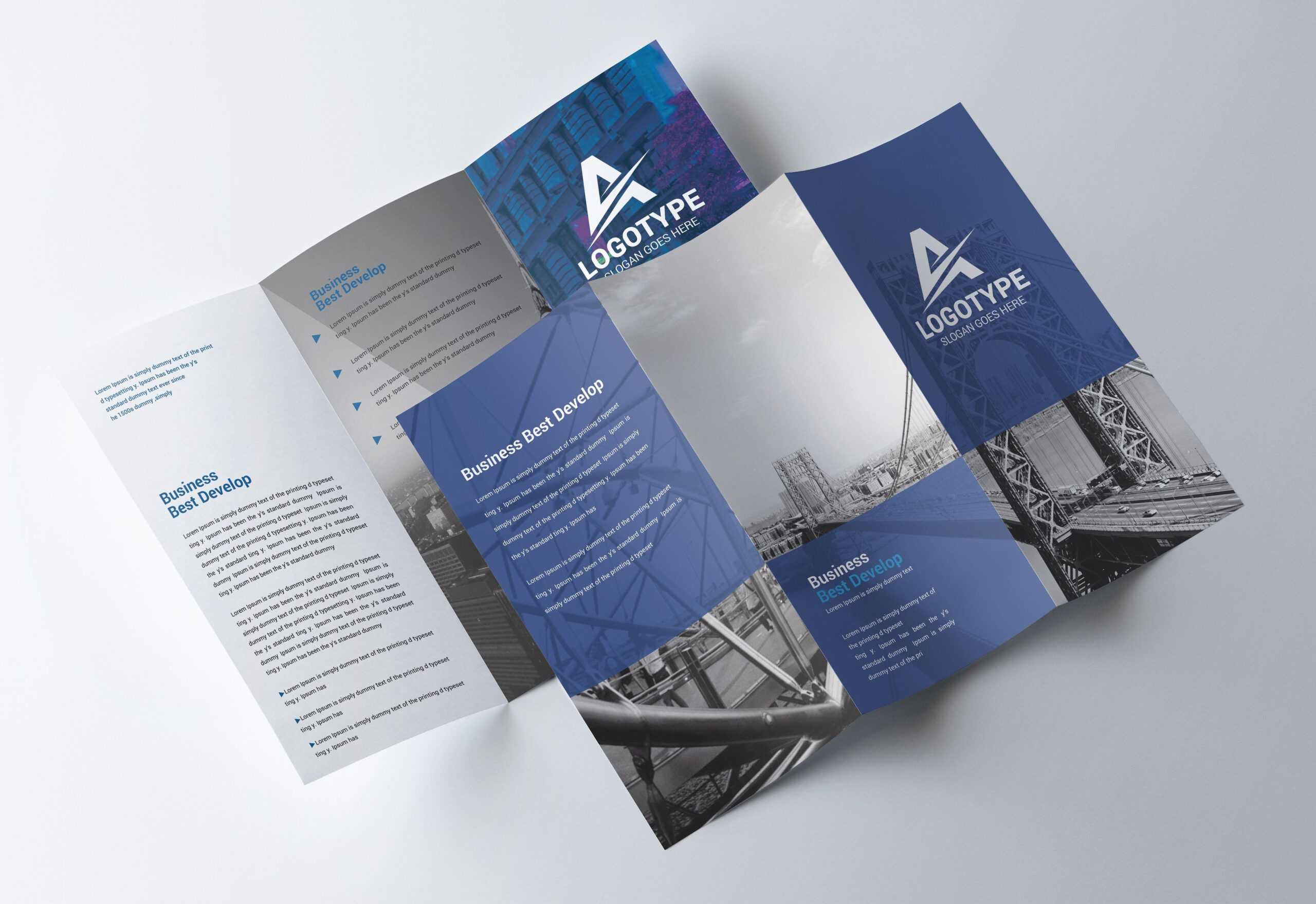 Corporate Tri-Fold Brochure - Psd Template - Free Psd Flyer regarding Brochure Psd Template 3 Fold