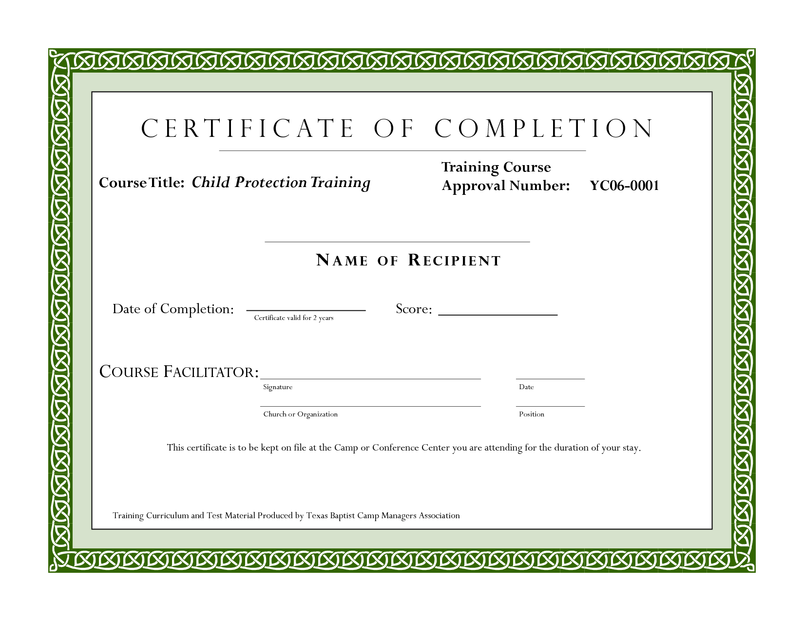 Course Completion Certificate Template   Certificate Of Intended For Training Certificate Template Word Format