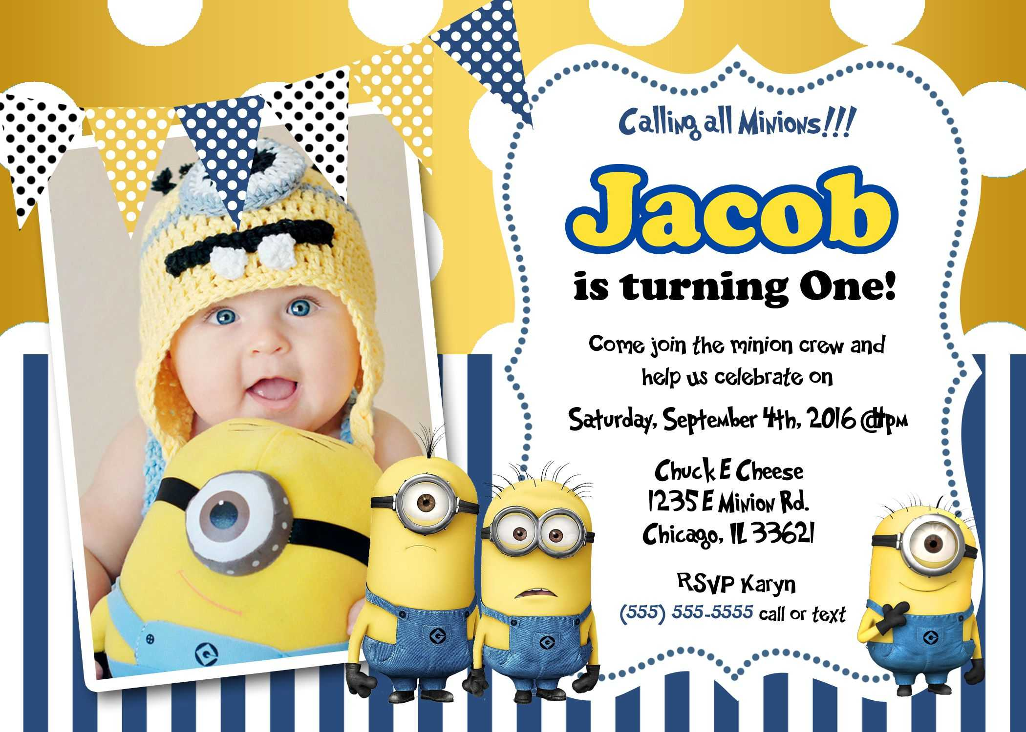 Create Own Minion Birthday Invitations Templates For Create Intended For Minion Card Template