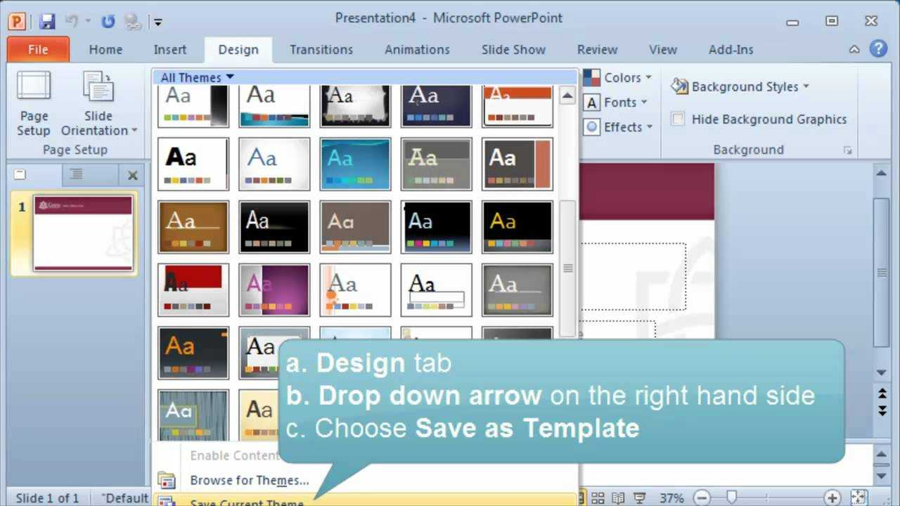 Creating And Setting A Default Template Or Theme In Powerpoint for What Is A Template In Powerpoint
