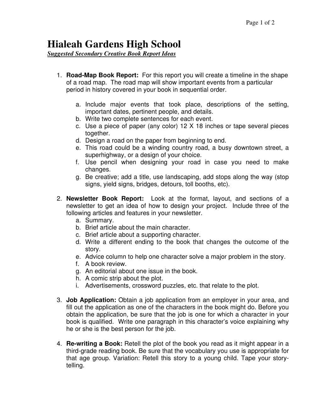 Creative Book Report Ideashialeah Gardens High School Within One Page Book Report Template