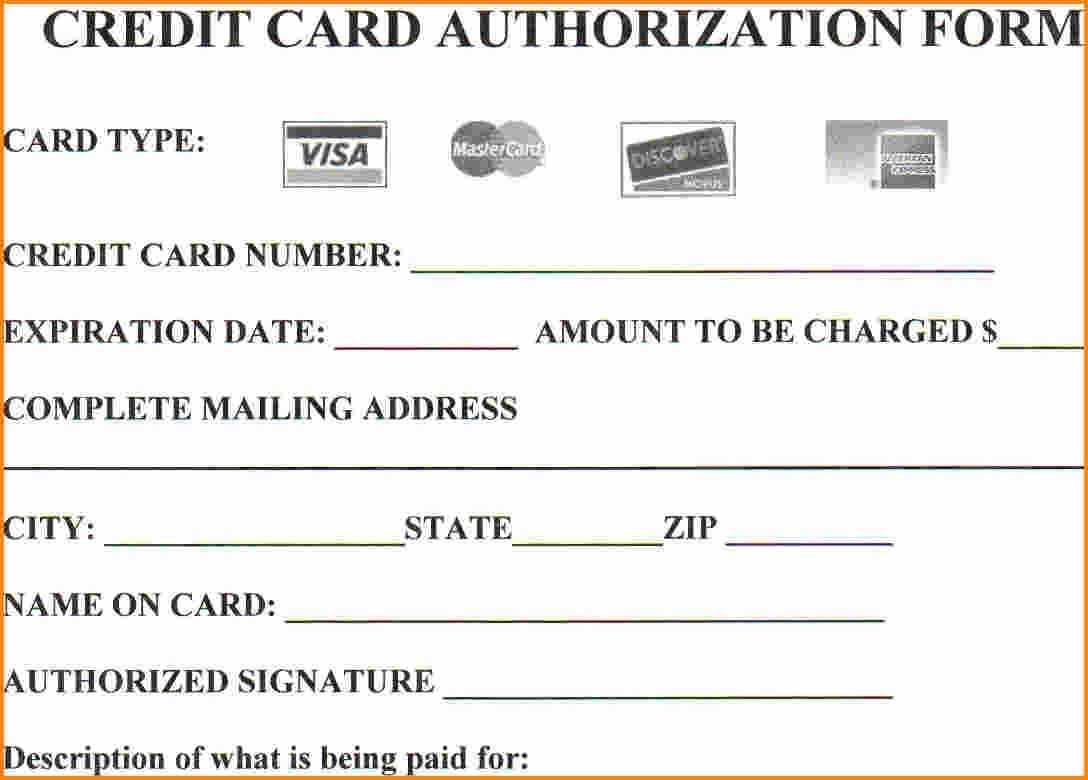 Credit Card Authorization Form Template | Template Business with Credit Card Authorization Form Template Word