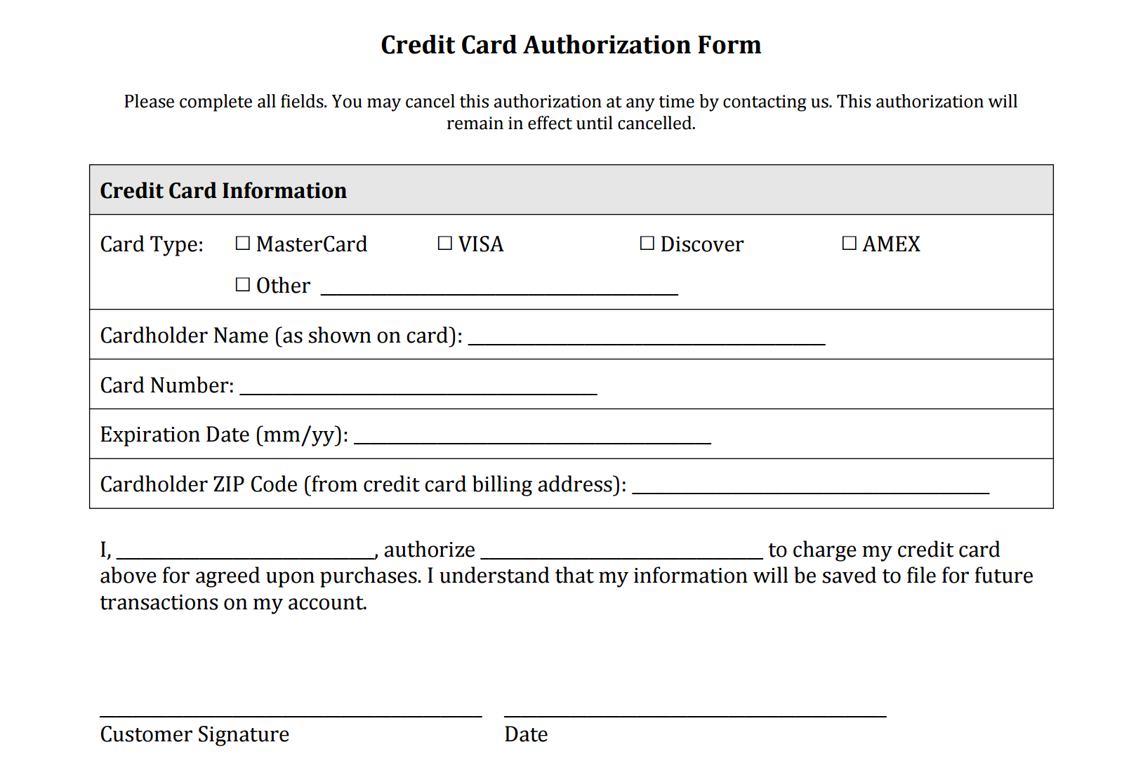 Credit Card Authorization Form Templates [Download] In Credit Card Authorisation Form Template Australia