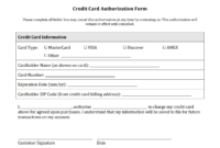 Credit Card Authorization Form Templates [Download throughout Credit Card Templates For Sale