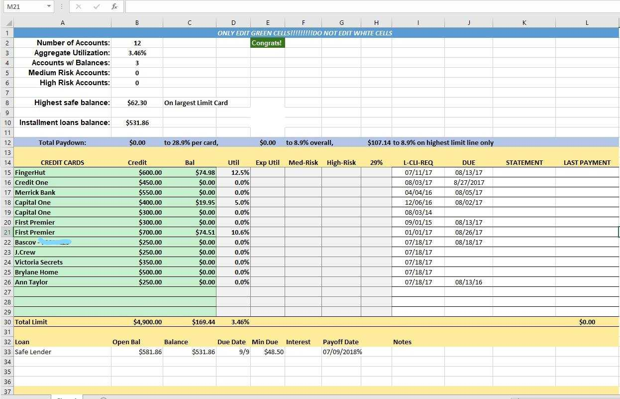 Credit Card Utilization Tracking Spreadsheet - Credit Warriors Within Credit Card Payment Spreadsheet Template
