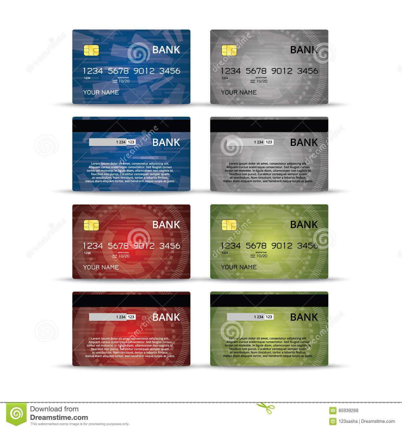 Credit Or Debet Cards Design Set Stock Vector - Illustration With Credit Card Templates For Sale