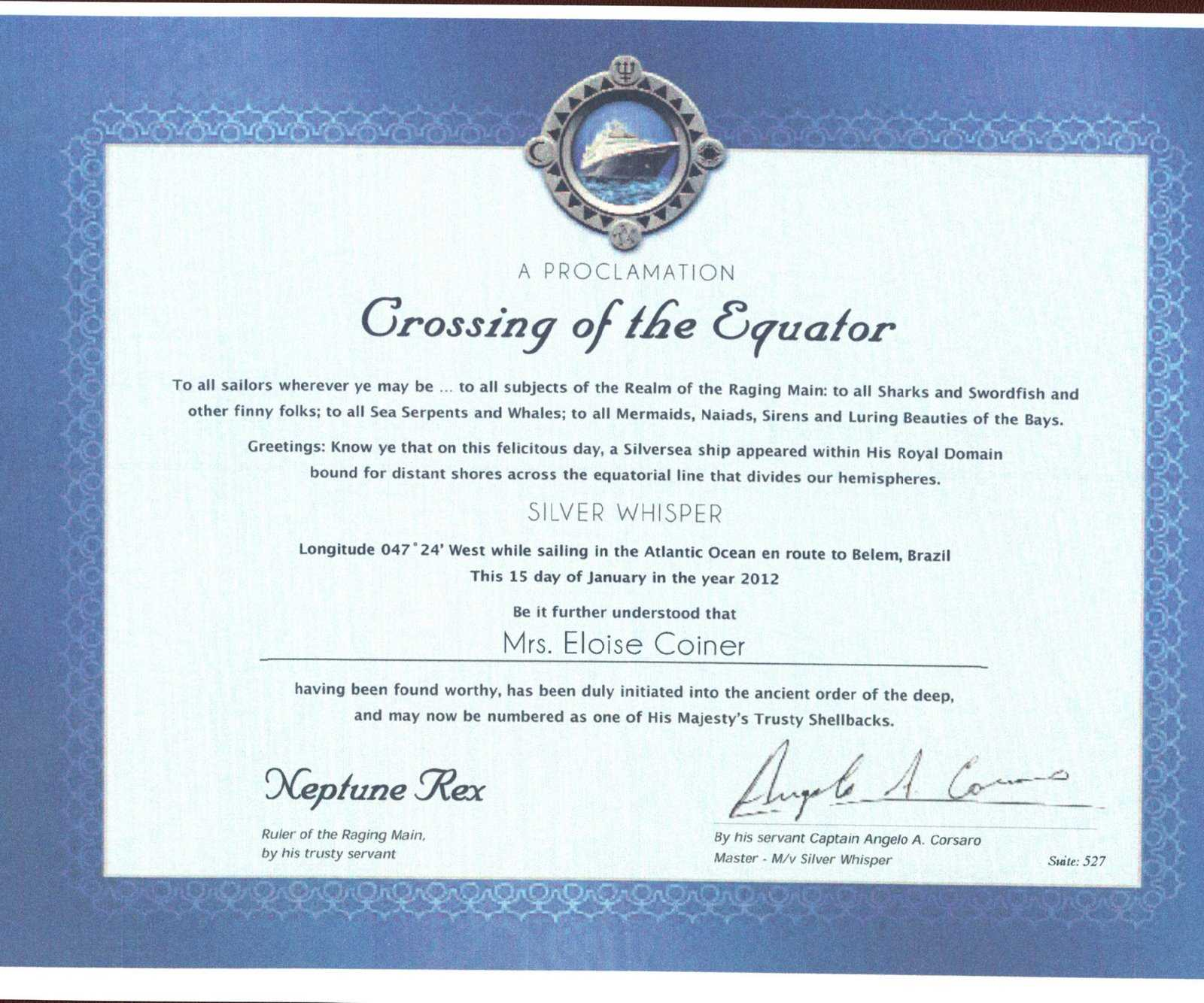 Crossing The Line Certificate Template - Atlantaauctionco with Crossing The Line Certificate Template