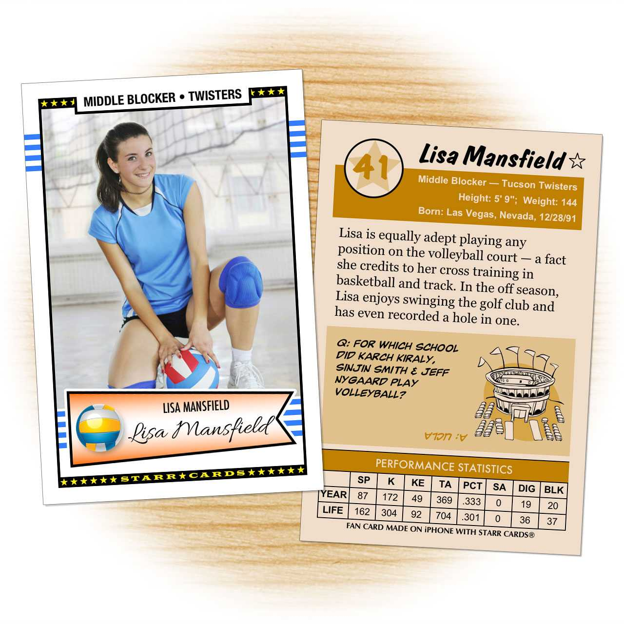 Custom Volleyball Cards - Retro 50™ Starr Cards for Bio Card Template