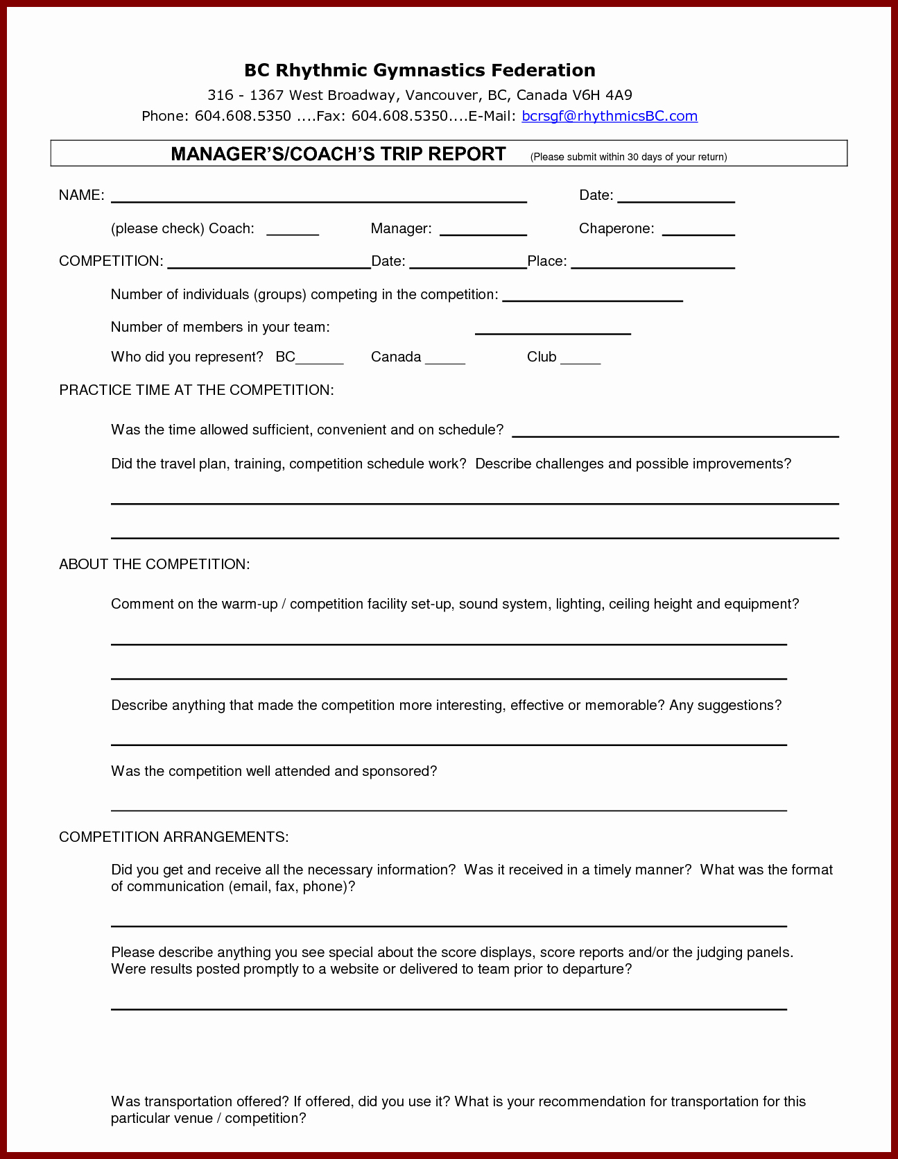 Customer Visit Report Template Free Download for Sound Report Template