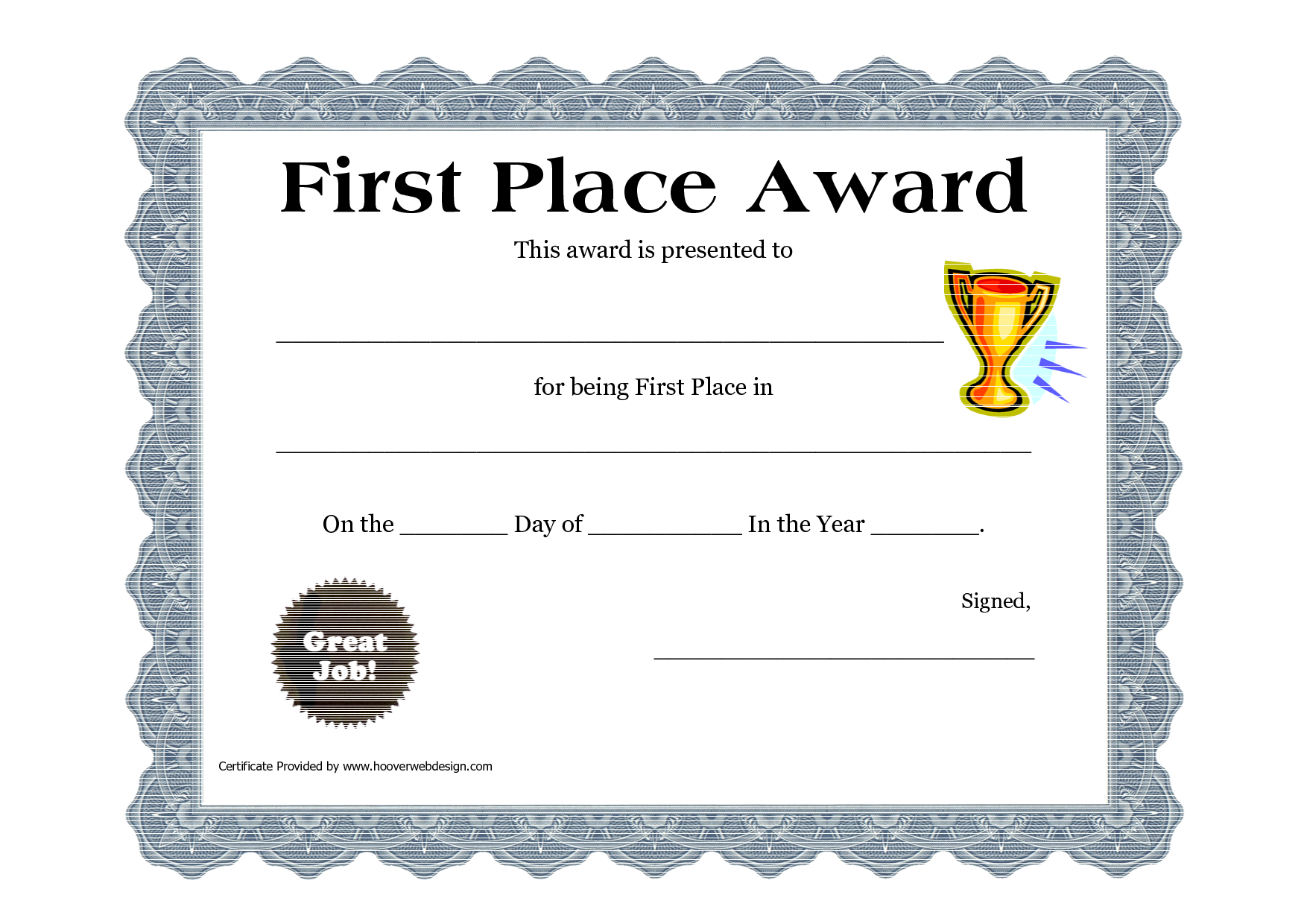 Customizable Printable Certificates | First Place Award For Player Of The Day Certificate Template
