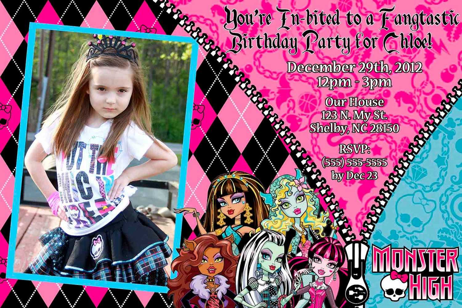 Custom+Monster+High+Invitation+Or+Thank+You+Card+By+ in Monster High Birthday Card Template