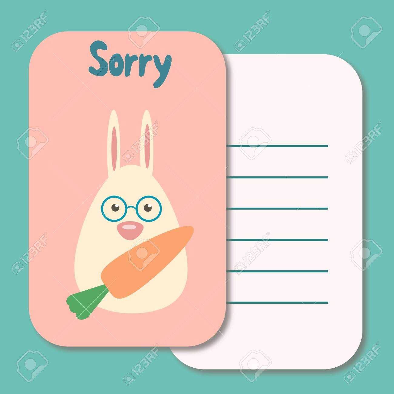Cute Printable Illustration Sorry Card Typography Design Background.. For Sorry Card Template