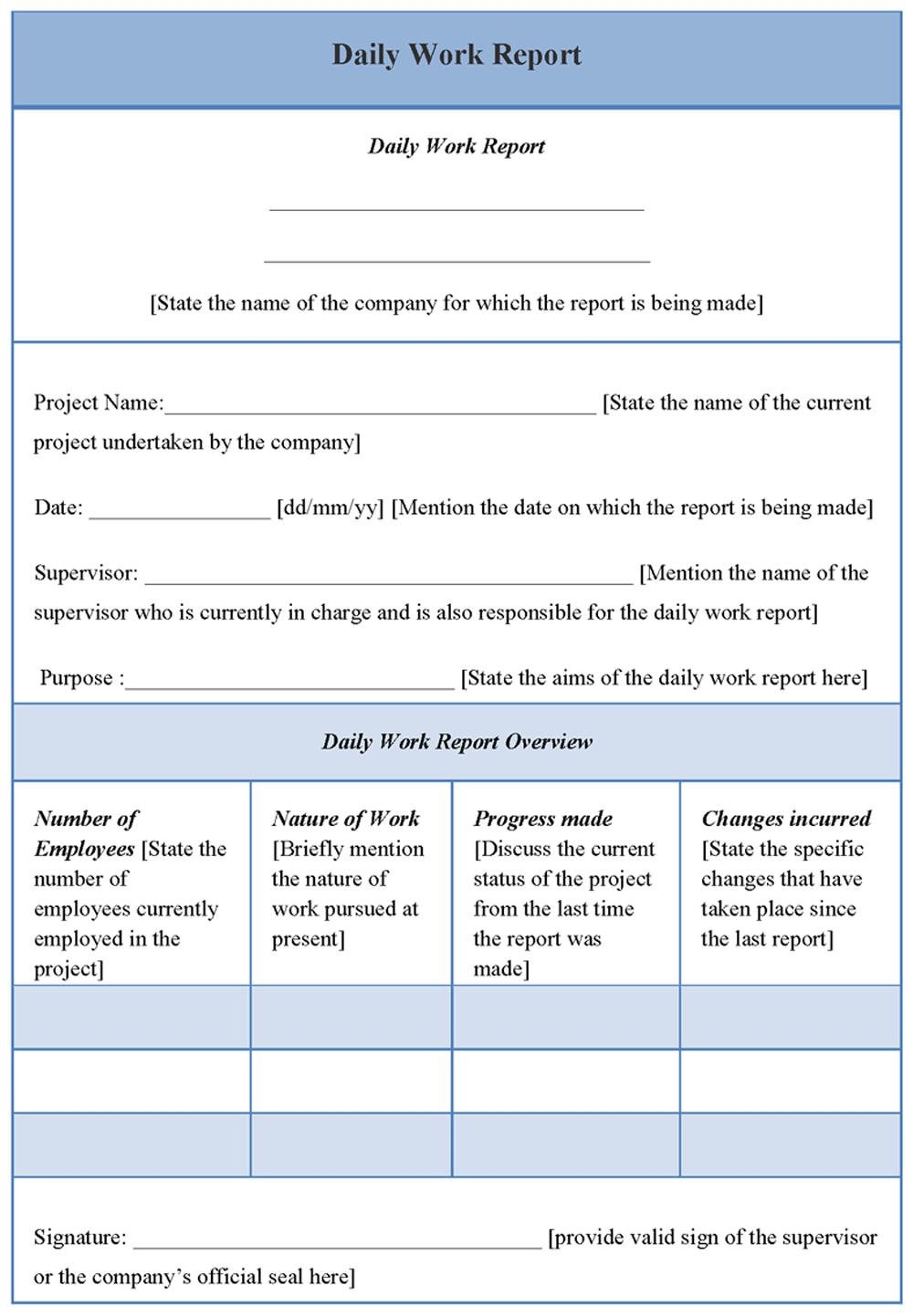 Daily Work Report Template   Report Template, Resume Regarding Rapporteur Report Template