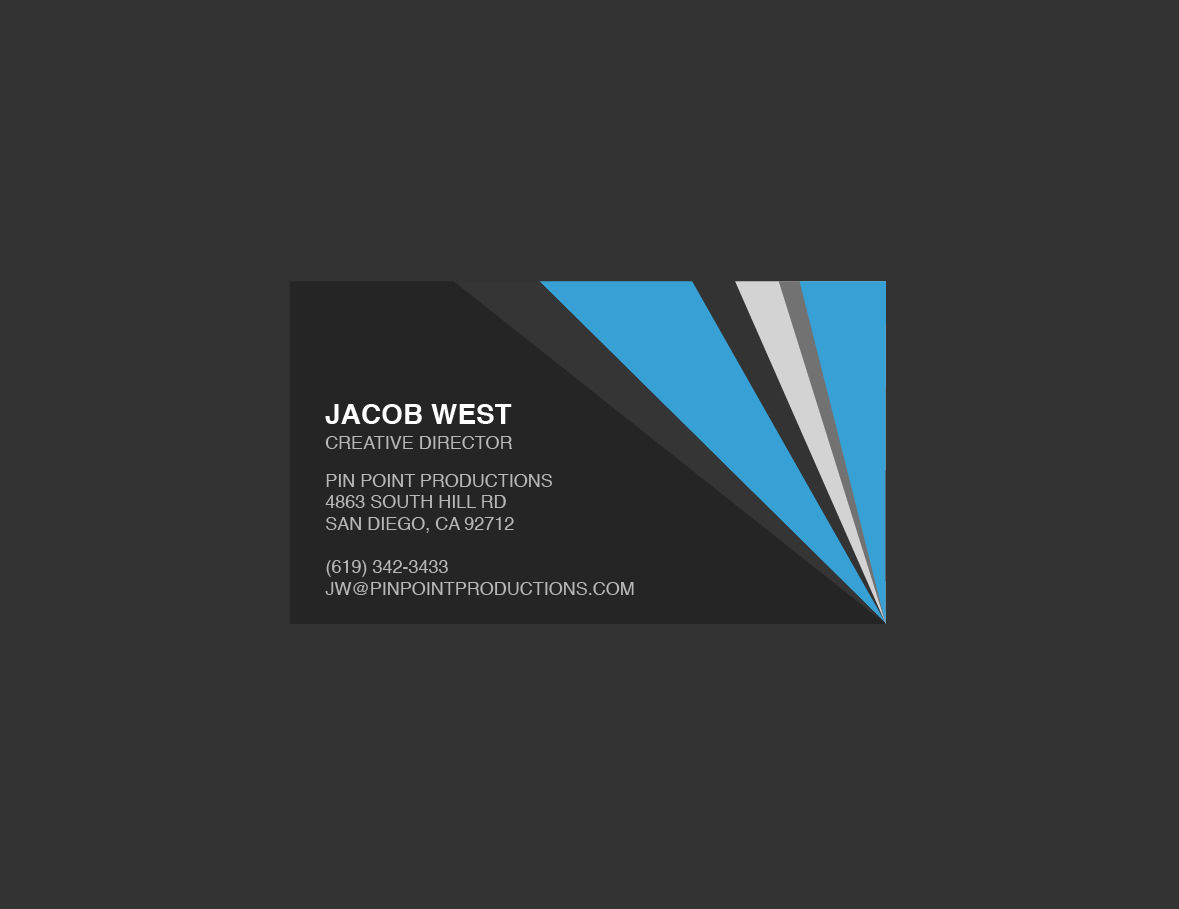 Dark Gray And Blue Generic Business Card Template In Generic Business Card Template