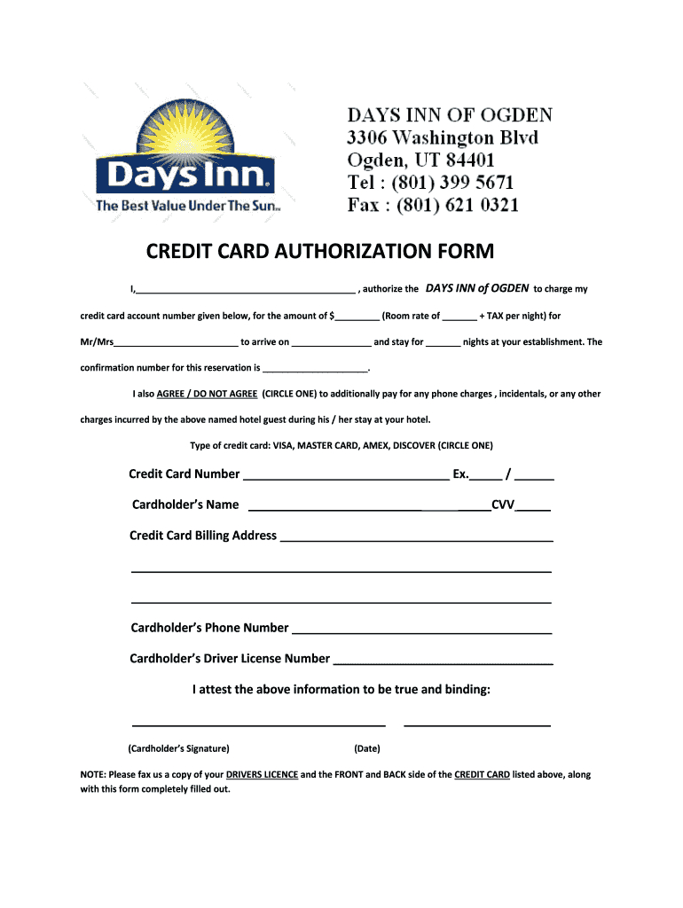 Days Inn Montrose Colorado Credit Card Authorization - Fill Intended For Hotel Credit Card Authorization Form Template