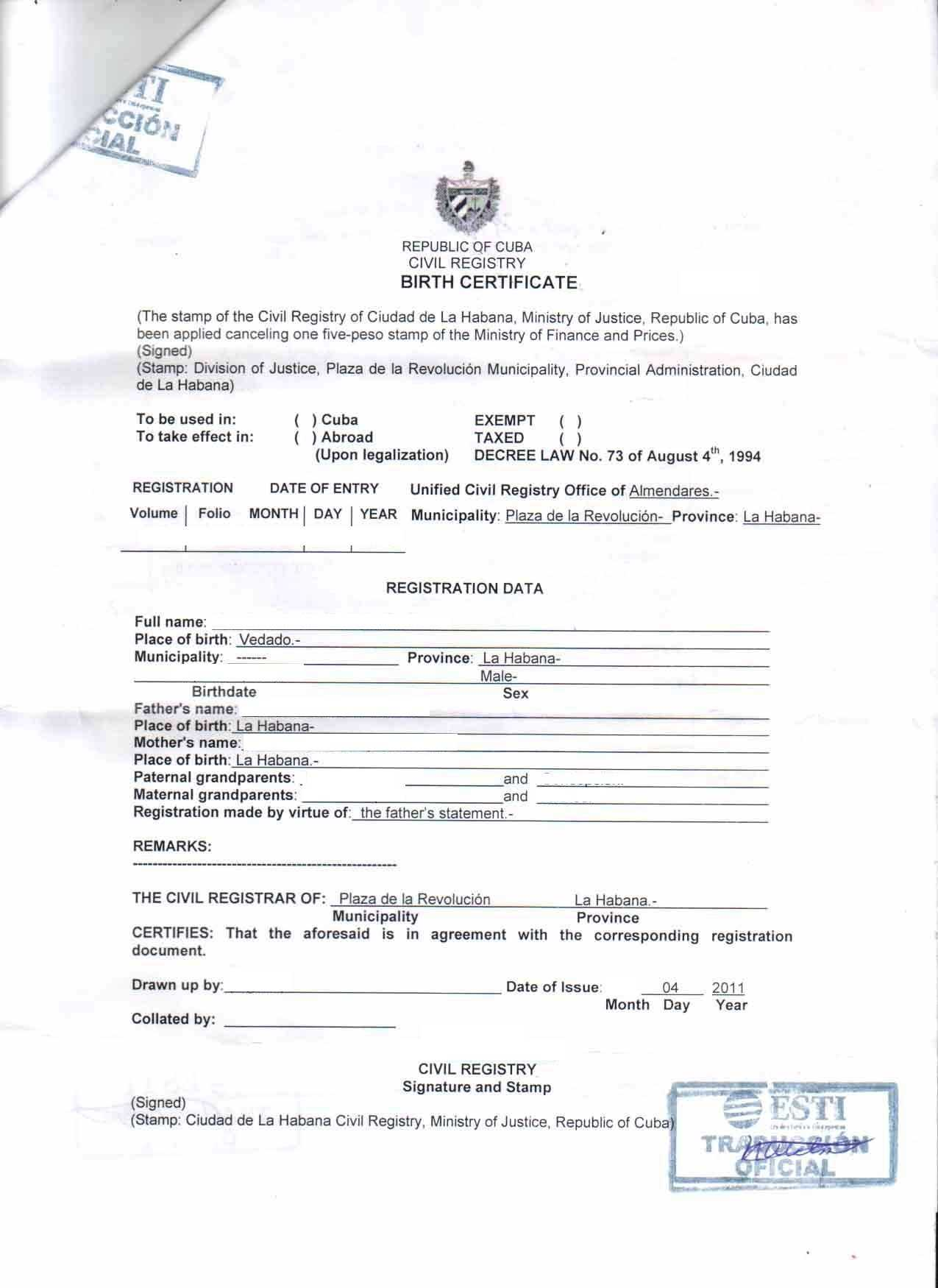 Death Certificate Template In Spanish Unique Birth Translate with regard to Marriage Certificate Translation From Spanish To English Template
