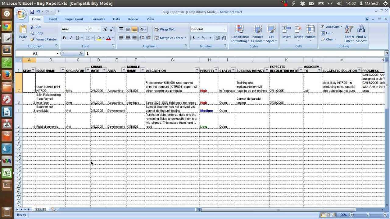 Defect Tracking Template Xls Inside Defect Report Template Xls