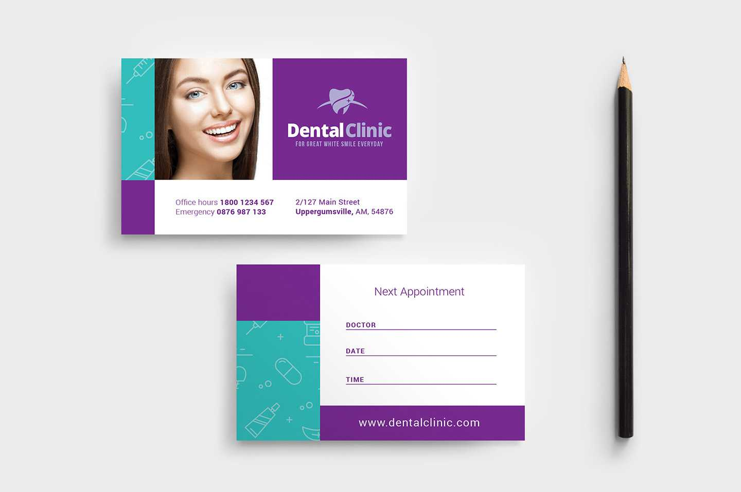 Dental Clinic Appointment Card Template In Psd, Ai & Vector With Dentist Appointment Card Template