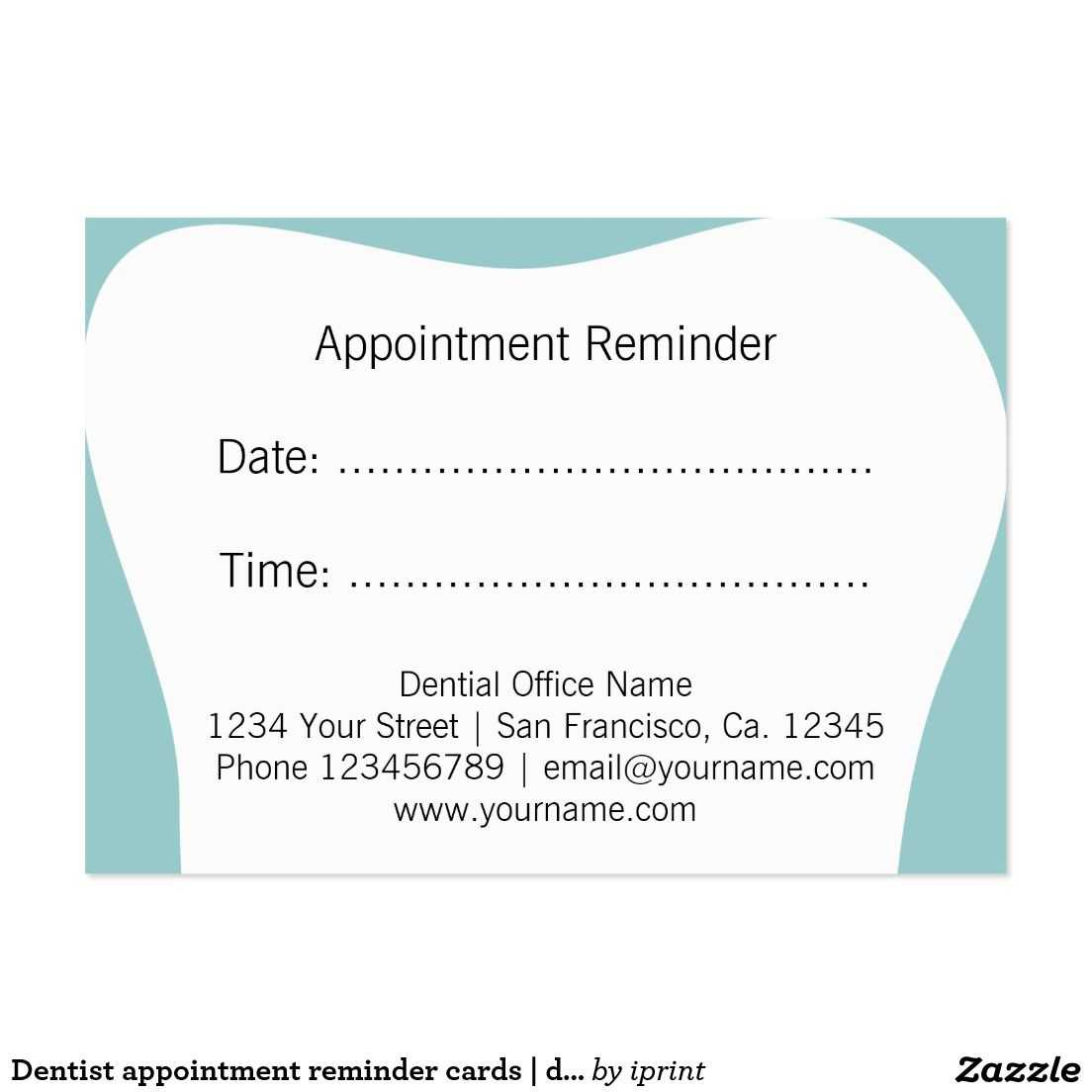 Dentist Appointment Reminder Cards | Dental Office | Zazzle For Dentist Appointment Card Template