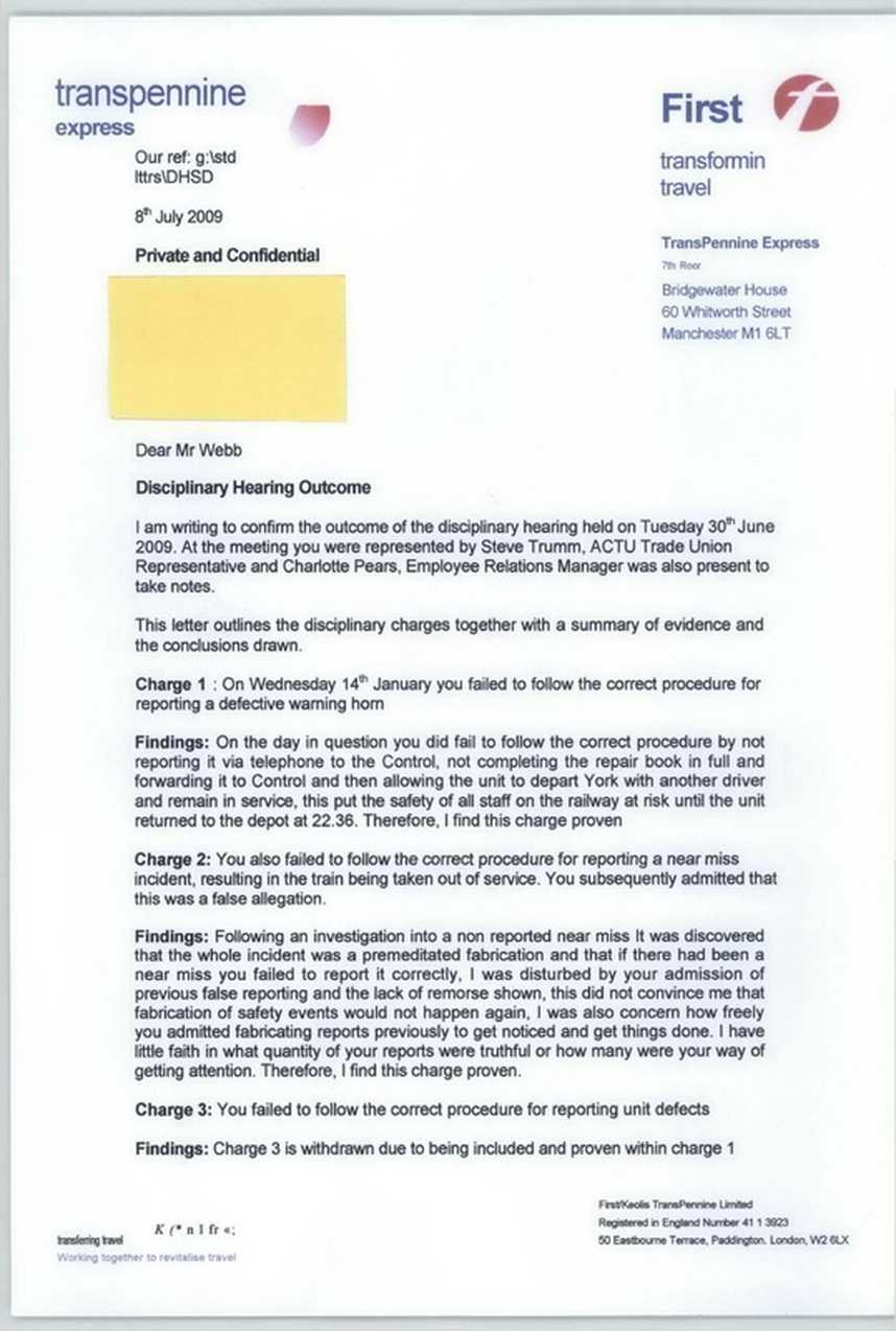 Disciplinary Hearing Outcome Letter - Transpennine Express Inside Investigation Report Template Disciplinary Hearing