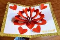 Diy 3D Heart ❤️ Pop Up Card   Valentine Pop Up Card inside 3D Heart Pop Up Card Template Pdf