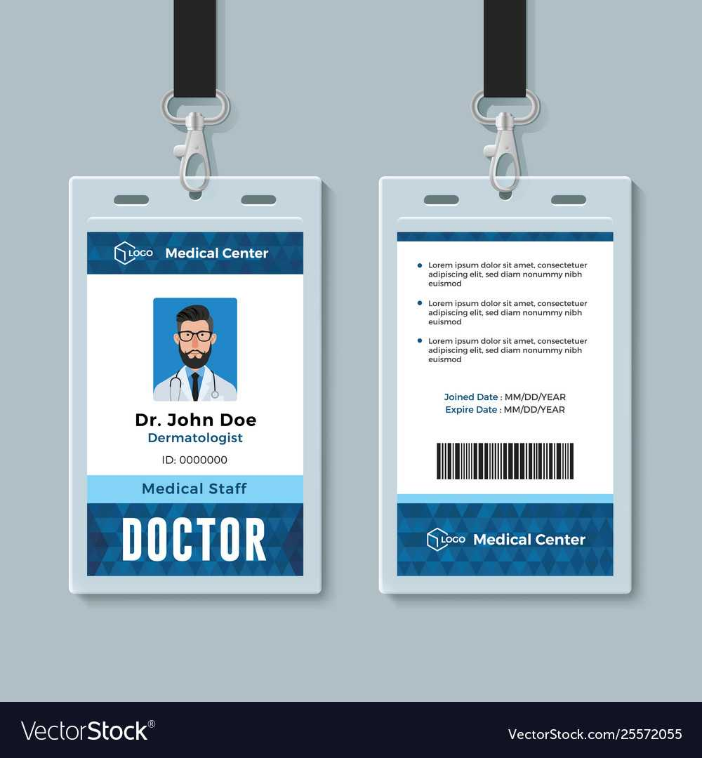 Doctor Id Card Medical Identity Badge Design inside Doctor Id Card Template