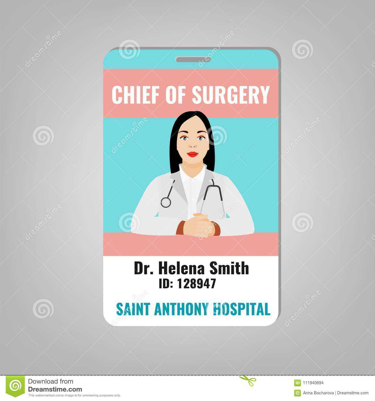 Doctor Id Card Stock Vector. Illustration Of Doctor - 111940694 intended for Doctor Id Card Template