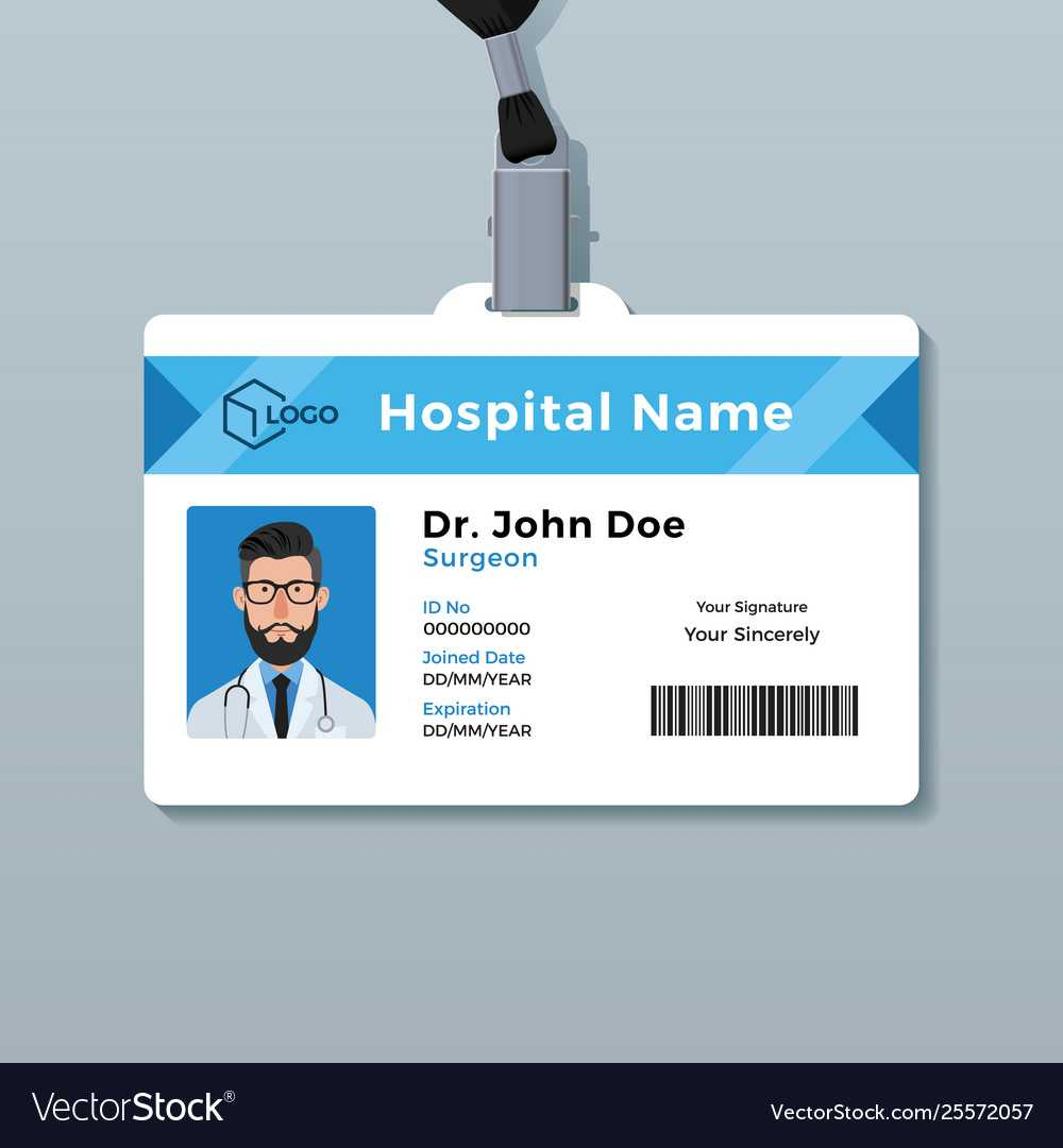 Doctor Id Card Template Medical Identity Badge With Regard To Doctor Id Card Template