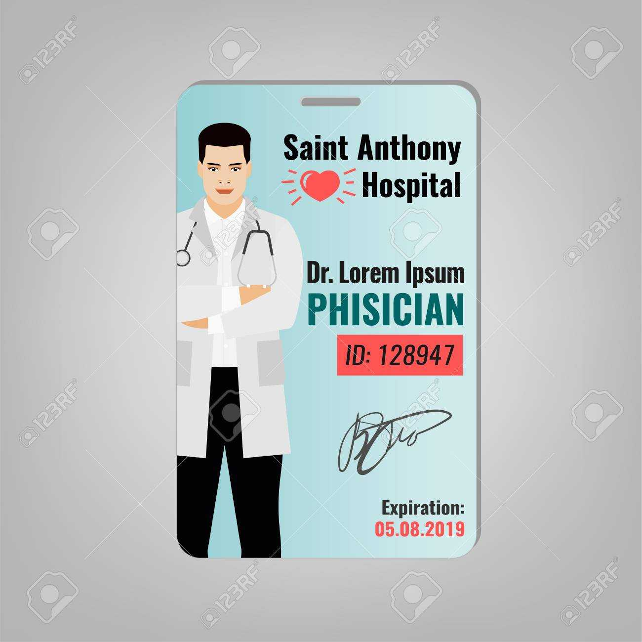 Doctors Id Card With Hospital Logo And Phisician Image. Medical.. with Doctor Id Card Template