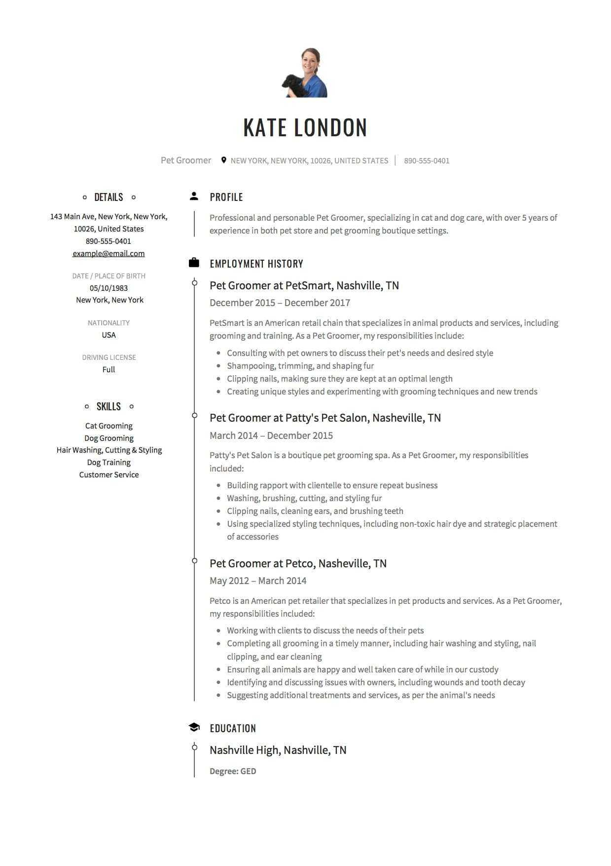 Dog Groomer Resume 161738 12 Pet Groomer Resume Sample S with Dog Grooming Record Card Template