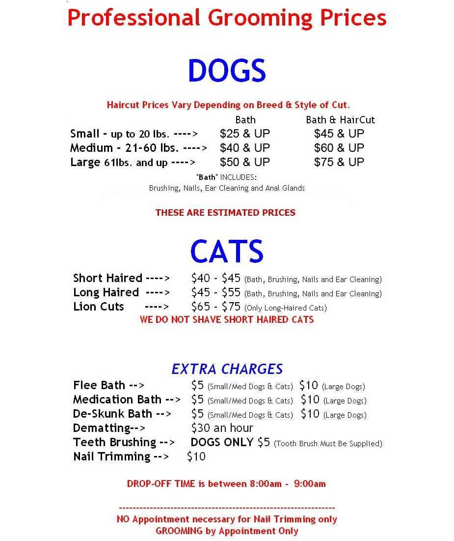 Dog Grooming Price List - Yahoo Image Search Results | Dog within Dog Grooming Record Card Template