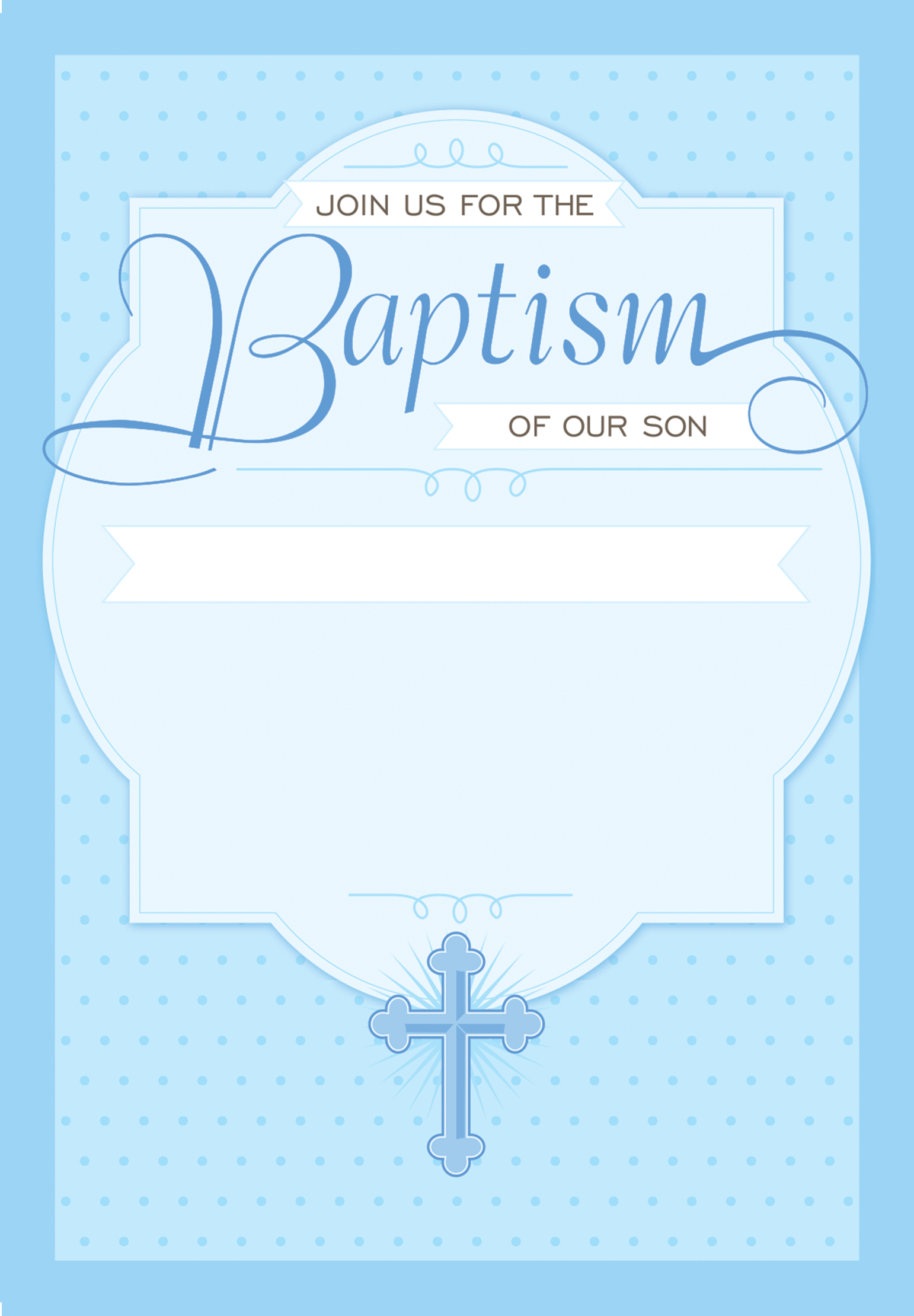 Dotted Blue - Baptism & Christening Invitation Template Pertaining To Blank Christening Invitation Templates