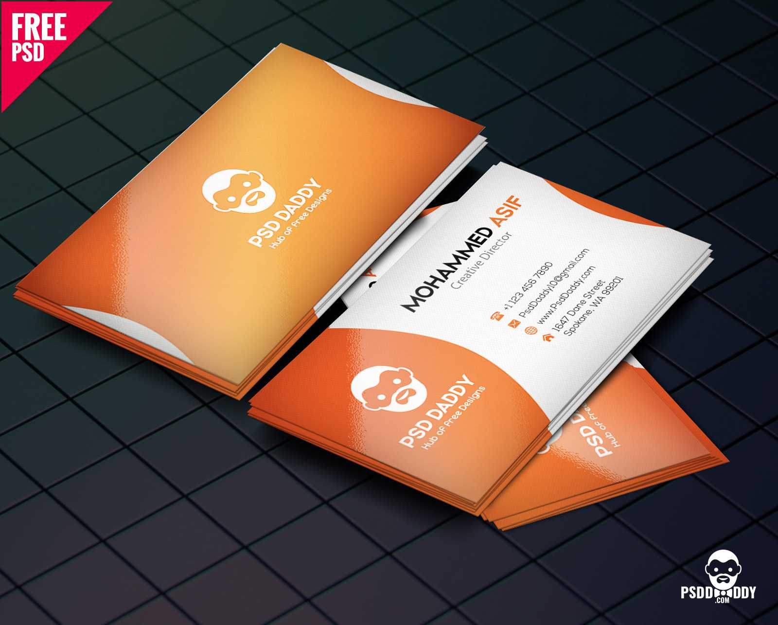 Download] Business Card Design Psd Free | Psddaddy with Free Psd Visiting Card Templates Download