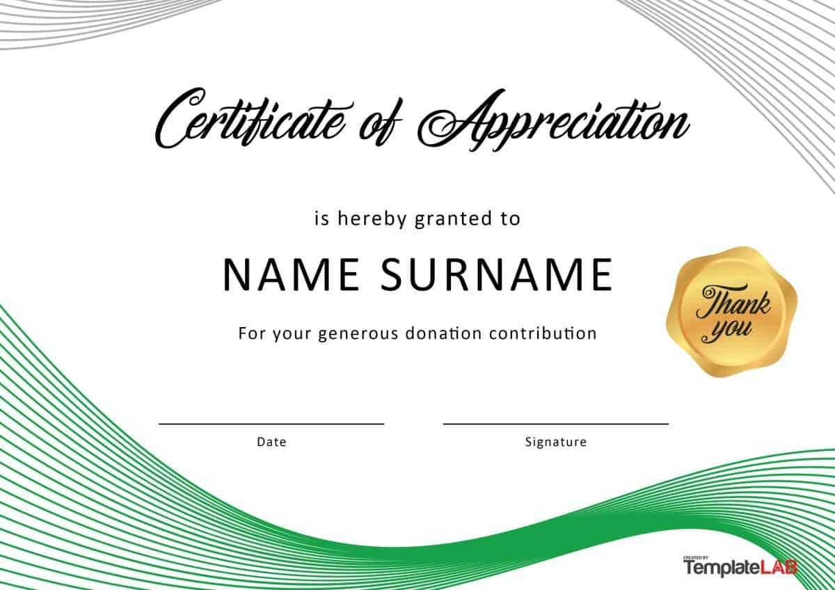 Download Certificate Of Appreciation For Donation 01 throughout Donation Certificate Template