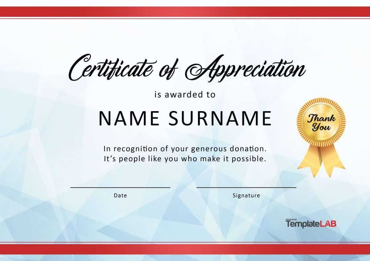 Download Certificate Of Appreciation For Donation 03 intended for Donation Certificate Template