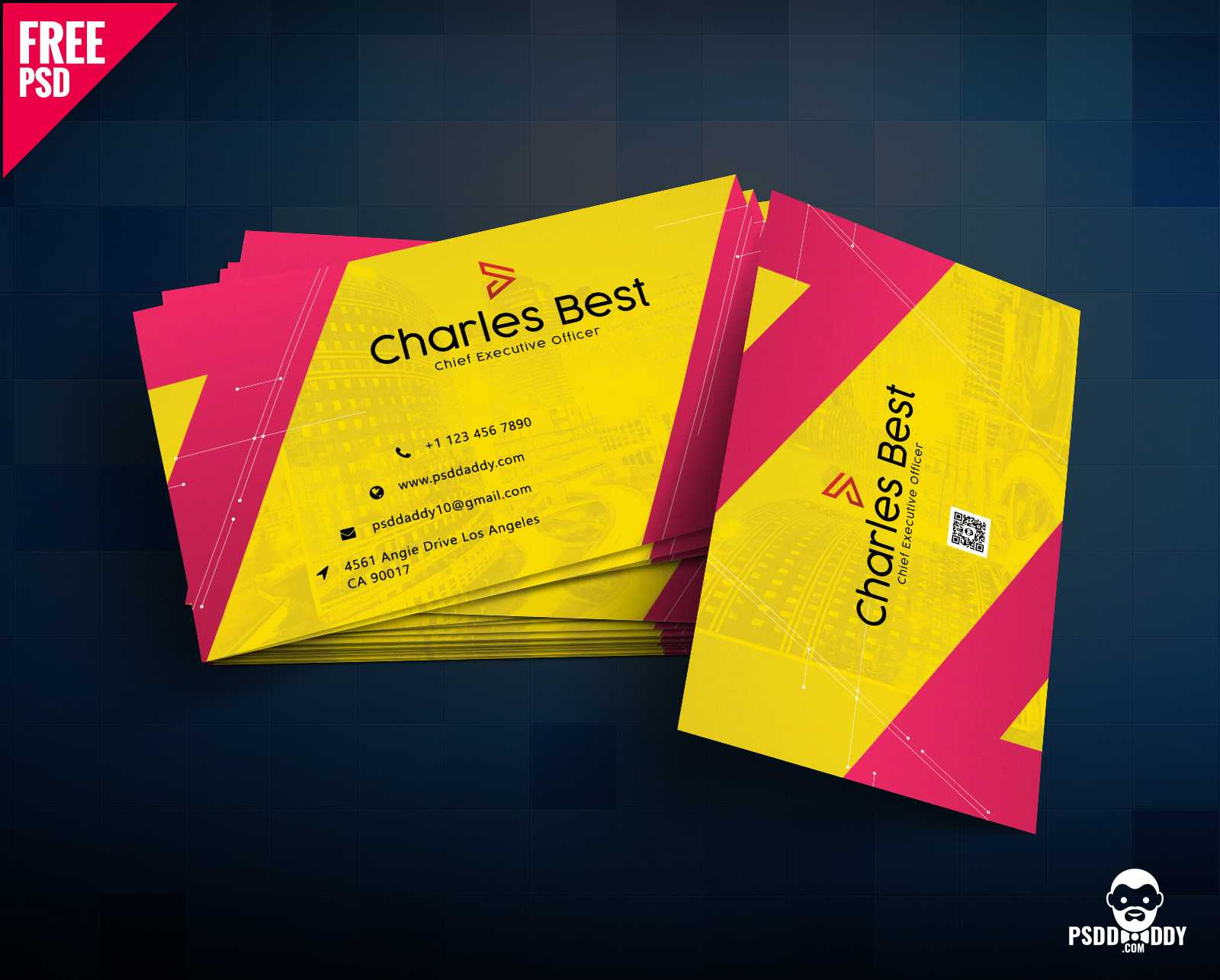 Download] Creative Business Card Free Psd | Psddaddy Inside Visiting Card Psd Template