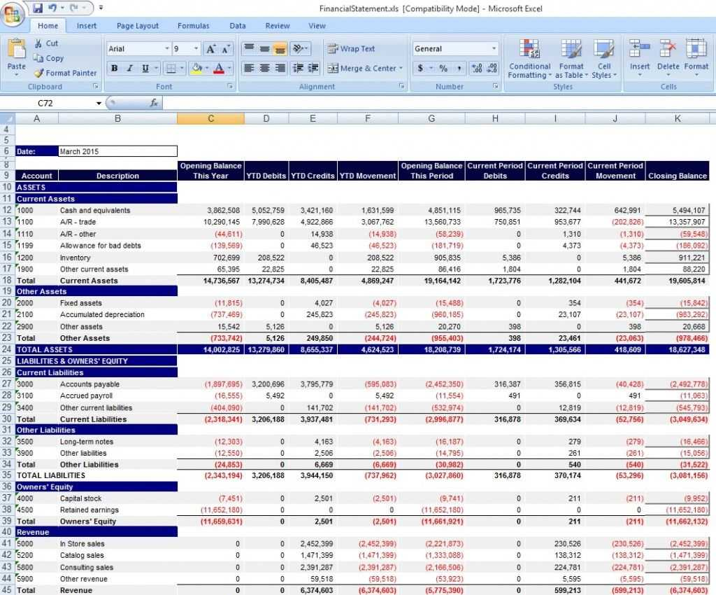 Download Personal Financial Statement Template Excel From For Excel Financial Report Templates