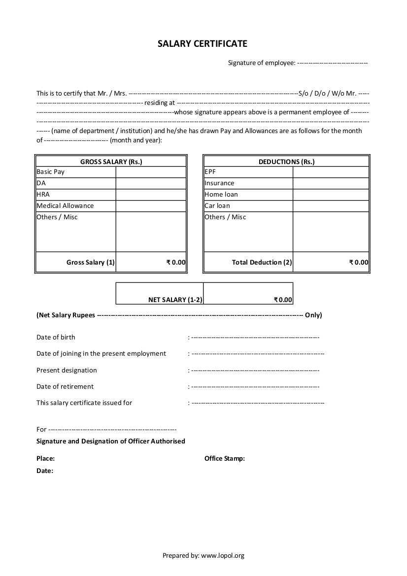 Download Salary Certificate Formats - Word, Excel And Pdf in Certificate Of Payment Template
