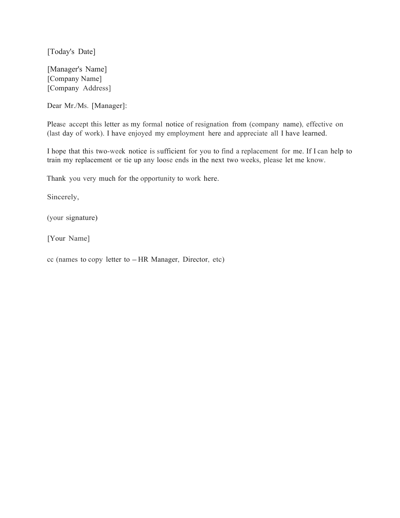Download Standard Two (2) Weeks Notice Letter Template And Within Two Week Notice Template Word