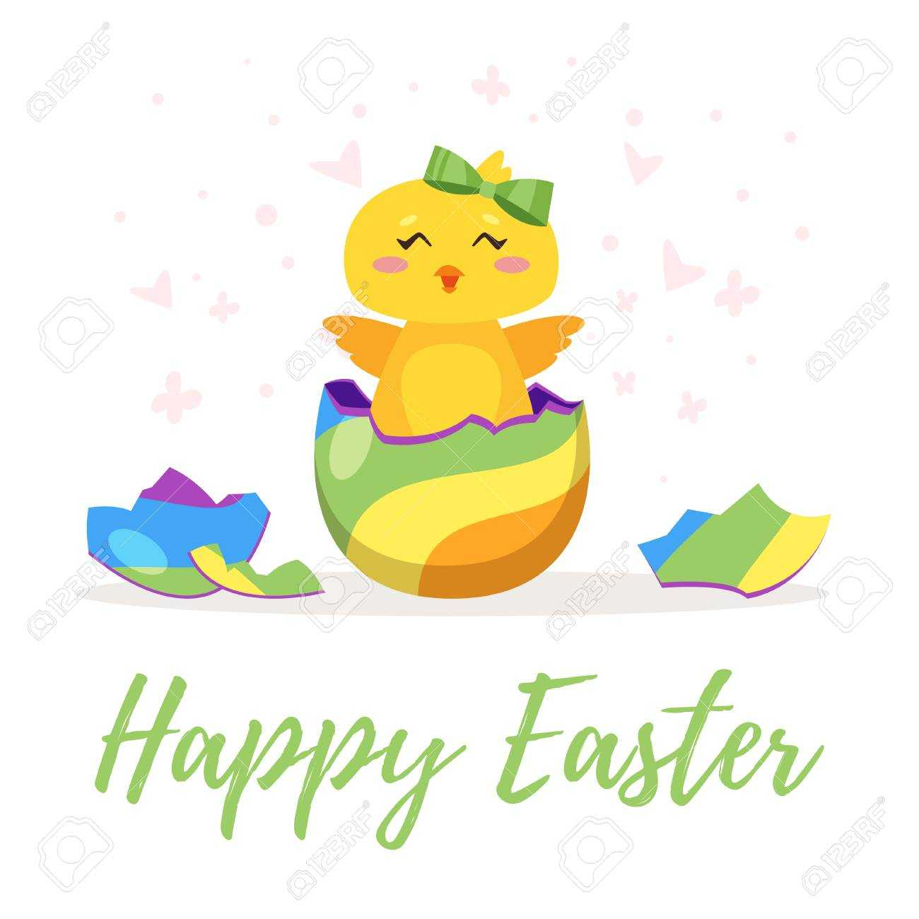 Easter Day Greeting Card Template With Cute Chick Hatched From.. For Easter Chick Card Template