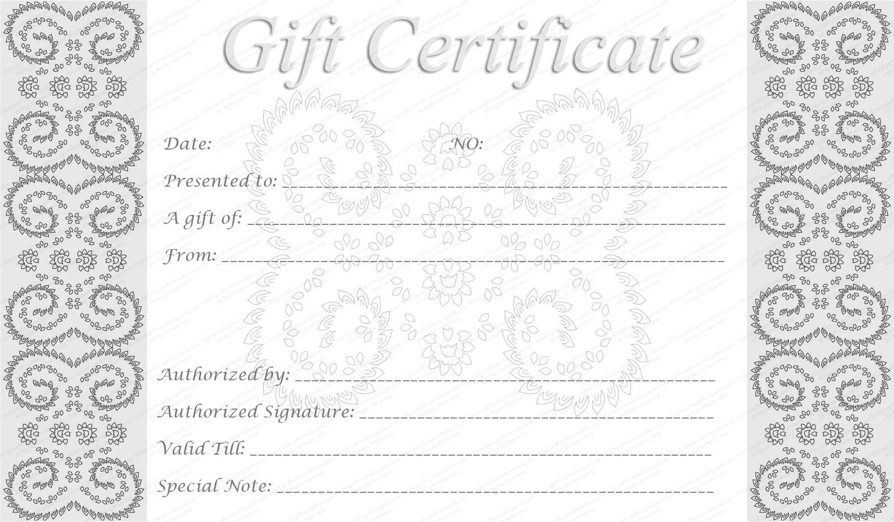 Editable And Printable Silver Swirls Gift Certificate Template intended for Black And White Gift Certificate Template Free
