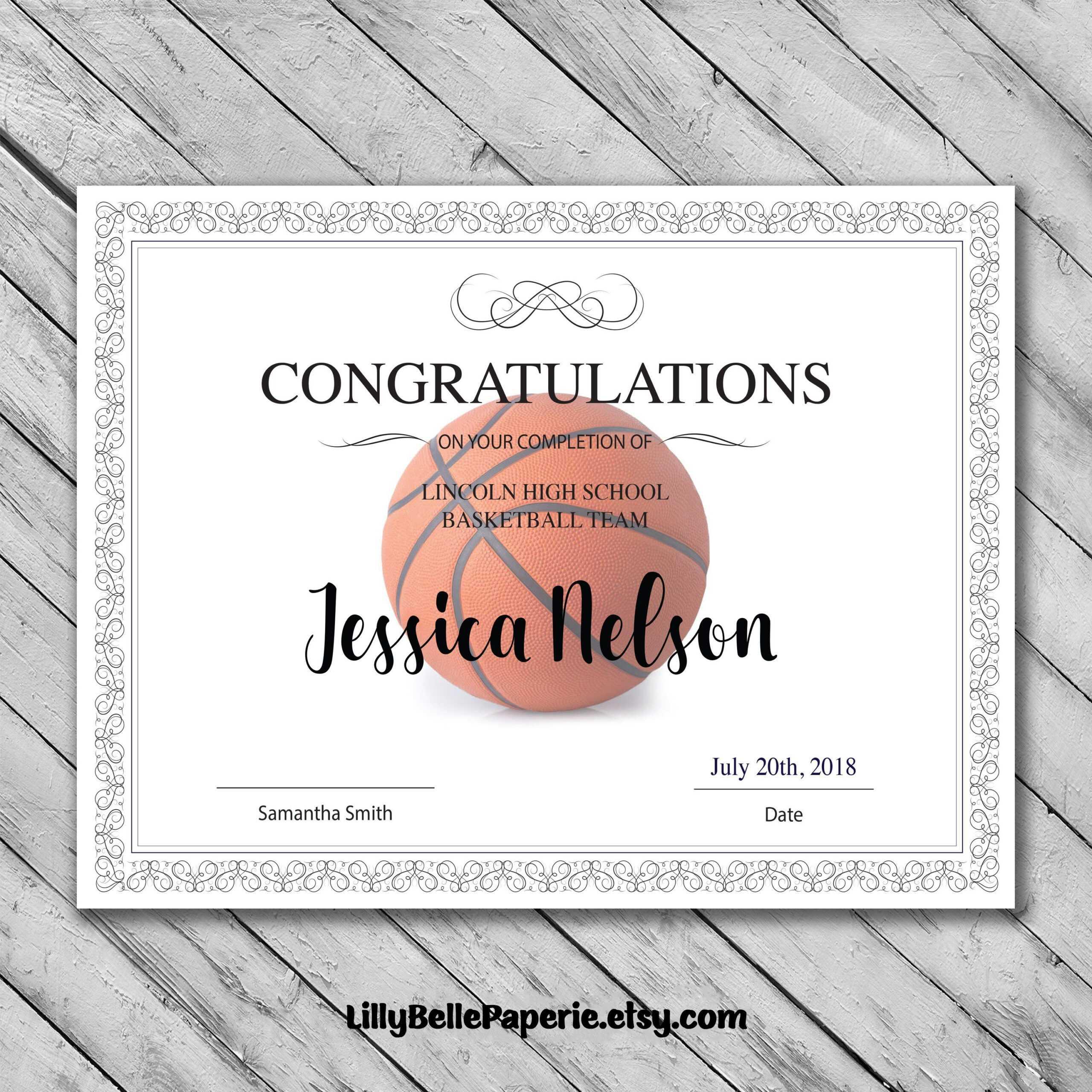 Editable Basketball Certificate Template - Printable with Basketball Certificate Template