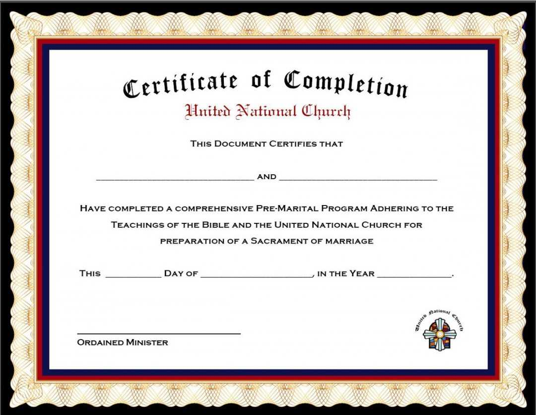 Editable Completion X Beautiful Marriage Counseling in Premarital Counseling Certificate Of Completion Template