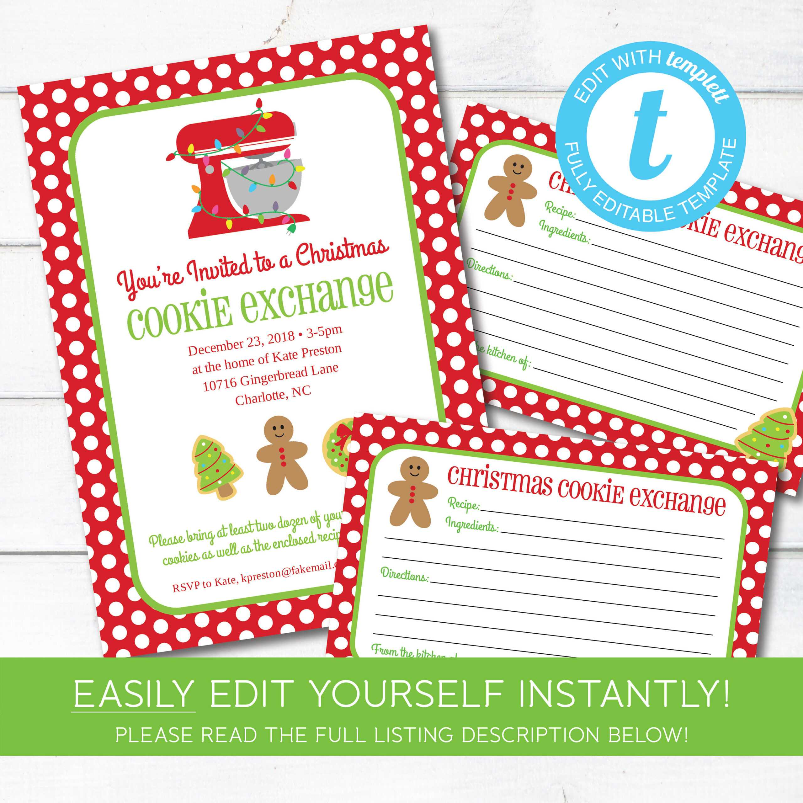 Editable Cookie Exchange Christmas Party Invitation And Recipe Cards,  Instant Download, Holiday Cookie Party Invitation, Edit With Templett throughout Cookie Exchange Recipe Card Template