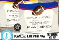 Editable Football Award Certificate, Custom Printable pertaining to Rugby League Certificate Templates