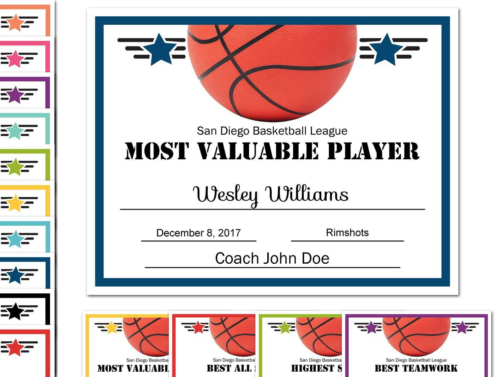 Editable Pdf Sports Team Basketball Certificate Award throughout Basketball Certificate Template